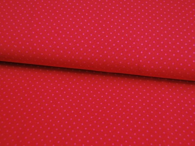JERSEY - Rot mit rosa Punkten - 0,5 Meter
