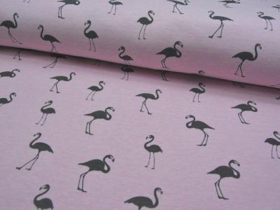 Sweat in Rosa mit grauen Flamingos 0,5m