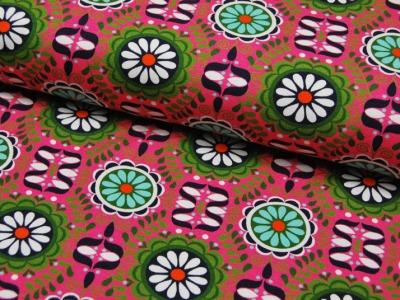 JERSEY Graphisches Blumenmuster auf Pink 05m