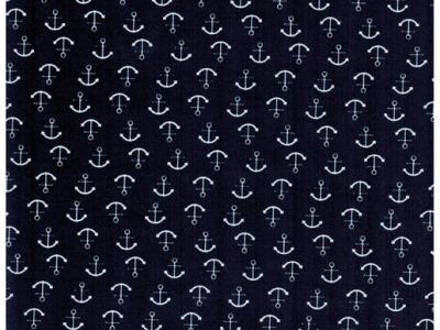 Beschichtete Baumwolle Anker auf Nachtblau 50x69cm
