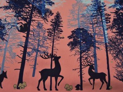 JERSEY - Waldtiere-Bäume auf Altrosa - 0,5 m