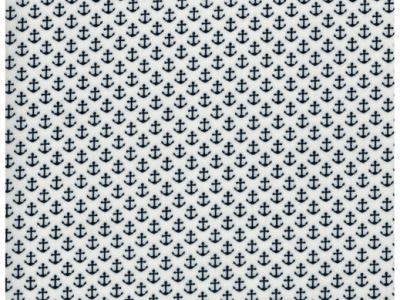 Beschichtete Baumwolle Anker auf Weiß 50x70 cm