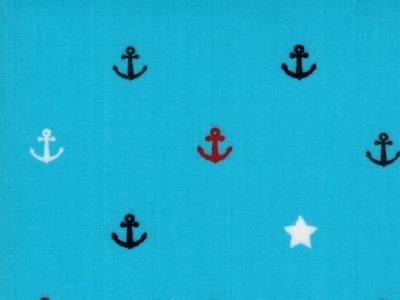 Beschichtete Baumwolle Anker auf Hellblau 50x70cm