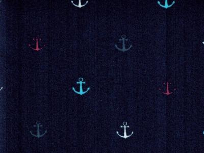 Beschichtete Baumwolle Anker auf Nachtblau 50x70cm