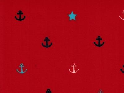 Beschichtete Baumwolle Anker auf Rot 50x70cm