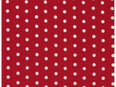 Beschichtete Baumwolle Weiße Dots auf Rot