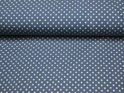 JERSEY - Jeansblau mit olivfarbenen Punkten 0,5m