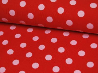 Roter Feincord mit Rosa Punkten Meter