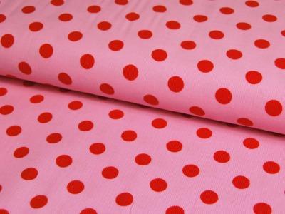 Rosa Feincord mit roten Punkten Meter