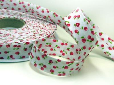 Schraegband 1 Meter mit Kirschen und Erdbeeren - 2 cm breites Schraegband