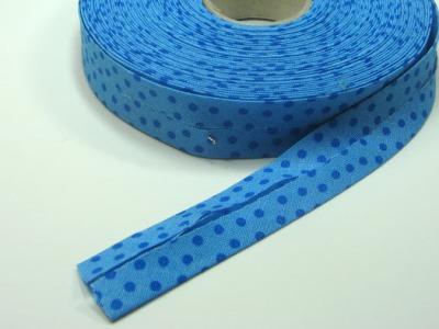 Schraegband 1 Meter hellblau mit dunkelblauen Punkten - 2 cm breites Schraegband