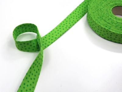 Schrägband Meter hellgrün mit dunkelgrünen Punkten