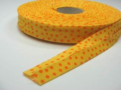 Schraegband 1 Meter Sonnengelb mit orangenen Punkten - 2 cm breites Schraegband