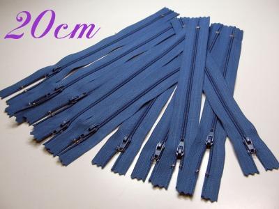 10 x 20cm mittelblaue Reißverschlüsse - 10 Reißverschlüße im Setsonderpreis