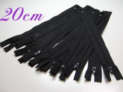 10 x 20cm schwarze Reißverschlüsse - 10 Reißverschlüße im Setsonderpreis