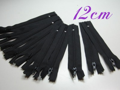 10 x 12cm schwarze Reißverschlüsse - 10 Reißverschlüße im Setsonderpreis