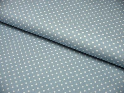 Hellblaue Baumwolle mit weißen Punkten Meter