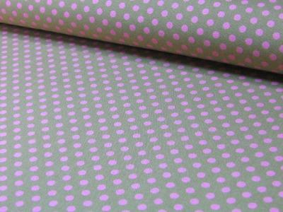 Rosa Punkte auf beige Baumwolle 0,5m