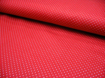 Rote Baumwolle mit weiße Minipunkte 0,5 Meter