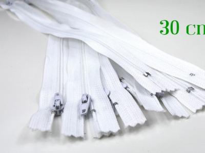 10 x 30 cm weiße Reißverschlüsse - 10 Reißverschlüsse zum Setsonderpreis
