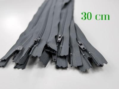 10 x 30cm graue Reißverschlüsse - 10 Reißverschlüsse zum Setsonderpreis