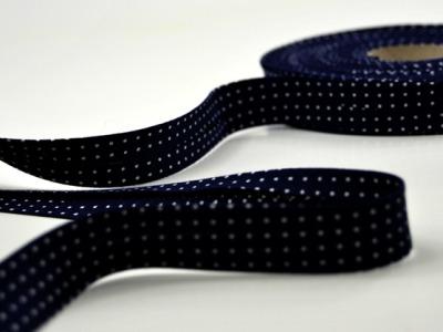 Schraegband 1 Meter dunkelblau mit weissen Punkten - 2 cm breites Schraegband