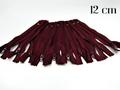 10 x 12cm bordeauxfarbene Reißverschlüsse - 10 Reißverschlüße im Setsonderpreis