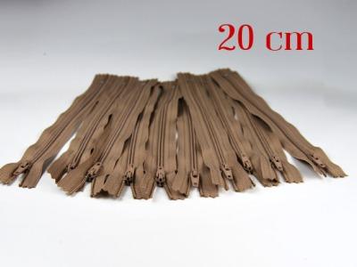 10 x 20cm milchkaffeefarbene Reißverschlüsse - 10 Reißverschlüße im Setsonderpreis