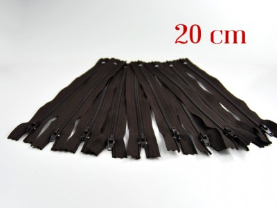 10 x 20cm schokobraune Reißverschlüsse - 10 Reißverschlüße im Setsonderpreis