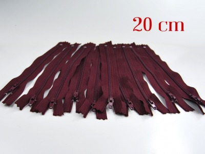 10 x 20cm bordeauxrote Reißverschlüsse - 10 Reißverschlüße im Setsonderpreis
