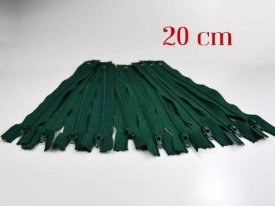 10 x 20cm waldgrüne Reißverschlüsse - 10 Reißverschlüße im Setsonderpreis