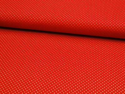 Rote Baumwolle mit goldene Minipunkte Meter