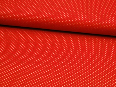 Rote Baumwolle mit goldene Minipunkte 0,5 Meter
