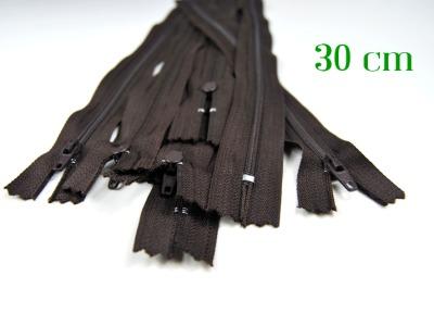 10 x 30 cm schokobraune Reißverschlüsse - 10 Reißverschlüsse zum Setsonderpreis