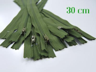 10 x 30cm moosgrüne Reißverschlüsse - 10 Reißverschlüsse zum Setsonderpreis