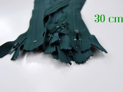 10 x 30cm waldgrüne Reißverschlüsse - 10 Reißverschlüsse zum Setsonderpreis