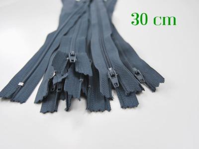 10 x 30cm blaugraue Reißverschlüsse - 10 Reißverschlüsse zum Setsonderpreis