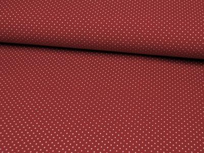 Dunkelrote Baumwolle mit weiße Minipunkte 0,5m