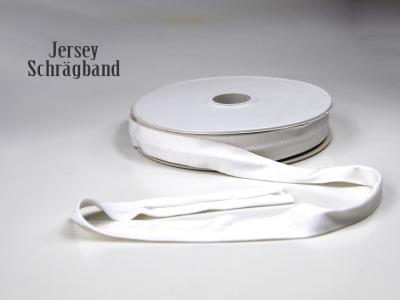 Jerseyband - 1 Meter Weiss - Elastisches einfarbiges Baumwollband