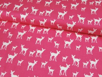 Rehe auf Pink - GOTS Baumwolle 0.5 m
