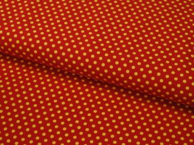 Gelbe Punkte auf terracottafarb. Baumwolle 0,5m