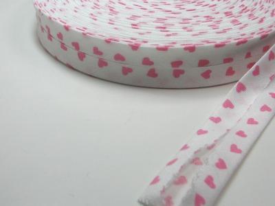 Schraegband 1 Meter Weiss mit rosa Herzen - 2 cm breites Schraegband