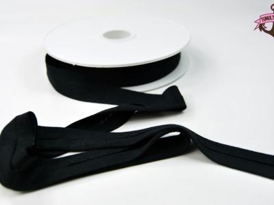 Jerseyband - 1 Meter Schwarz - Elastisches einfarbiges Baumwollband