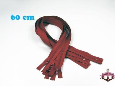 5 x 60 cm dunkelrote Reißverschlüsse - 5 Reißverschlüße im Setsonderpreis