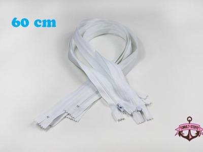 5 x 60 cm weiße Reißverschlüsse - 5 Reißverschlüße im Setsonderpreis