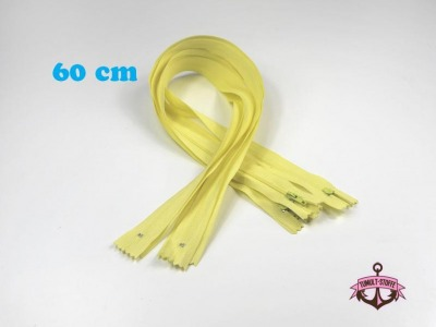 5 x 60 cm vanillefarbene Reißverschlüsse - 5 Reißverschlüße im Setsonderpreis