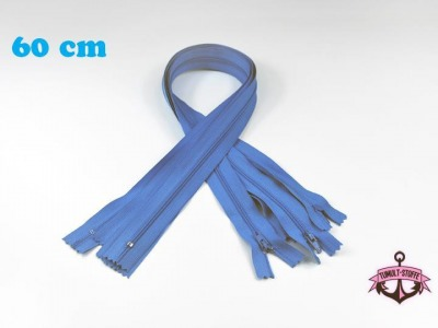 5 x 60 cm hellblaue Reißverschlüsse - 5 Reißverschlüße im Setsonderpreis