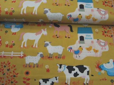 Bauernhof Muster - Baumwolle - auf Senf 0,5m