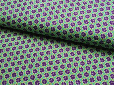 Blumenherz - Lila auf Grün - Baumwolle 0,5m
