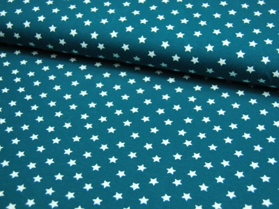 Jersey - Weiße Sterne auf Petrol 0,5 Meter
